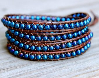 Beaded Leather Wrap Bracelet 4 or 5 Wrap with Iridescent Dark Blue Czech Glass Beads on Genuine Brown Leather