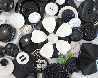 Vintage Button Lot* Black and White Button Pack*Vintage Button Mixed Supply