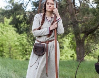 """DISCOUNTED PRICE! Ready to Ship! Discounted Price! Viking Dress Tunic """"Eydis the Shieldmaiden""""; Natural Linen Dress"""