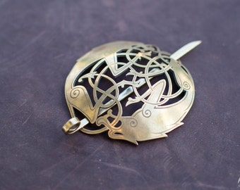"Brass Clasp ""Eydis""; Oval Brooche; Viking Fibula"