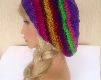 Ooak purple rainbow Unique womens teens designer hand knit hat hippie,winter irish beret yarn beanie slouch hat,hippie festival crochet tam