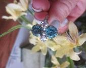 Vintage Estate Art Deco Sterling Ice Blue Rhinestone Ring,  2 Square Cut Rhinestones, Stamped STERLING, SIZE 7, Bridal, Wedding, Anniversary