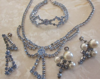 JEWELRY SET, Vintage Powder Blue Rhinestone Set, Necklace, Bracelet, Two Pairs of Screw Back Earrings, Bridal, Bridesmaid, Wedding, Prom