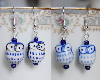 Blue Owl Earrings , Light Blue/Dark Blue Earrings , Ceramic Owl Earrings