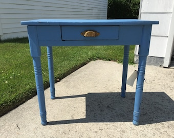 Old Blue Table with original brass pull