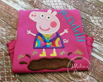 Peppa Pig Muddy Puddle Birthday Custom Tee Shirt - Customizable -  Infant to Youth 119