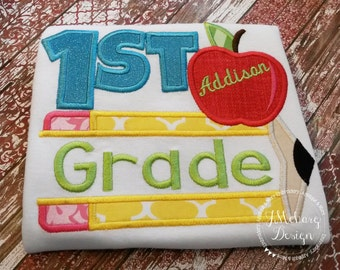 Back to School - First Grade - Customized Tee Shirt - Customizable