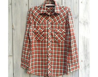 Vintage shirt | Men's plaid Big Yank brown and green Western pearl snap shirt