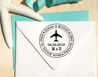 Airplane Custom Address Stamp, Save the Date stamp, Wedding stamp, destination wedding