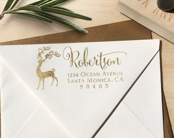 Reindeer Christmas Holiday Return Address Stamp
