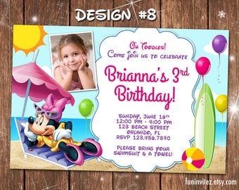 Minnie Mickey Mouse Clubhouse Beach Birthday Party Photo Invitations Pool Swim - Printable