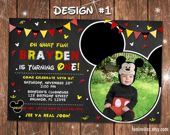 Mickey Mouse Classic Chalkboard Birthday Party One 1 First Photo Invitations Clubhouse - Printable