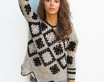 NOT AVAILABLE - Retro Women Crochet  Granny square sweater Grey-Black Crochet Afghan for women Unique Design