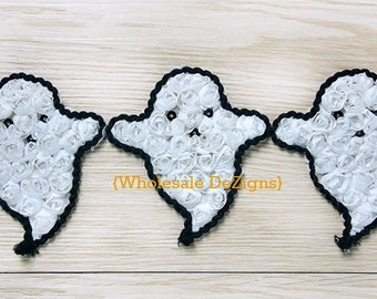 """White Ghost Rosettes with Black piping -3"""" - Halloween Fall Applique - Sequin Eyes and Mouth - 3 inches"""