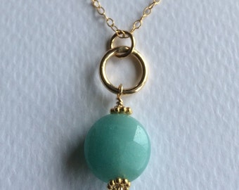Faceted Amazonite and 14ct Goldfill necklace