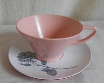 Vintage Plastic Teacup Coffee Cup and Saucer Mid Century Melamine