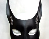 Steampunk Rabbit Mask / Rabbit Mask / Black Leather / Leather Mask / Bunny / Gothic / Steamgoth Mask / Fetish / Fox/ Animal Mask/ Masquerade