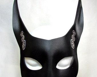 Steampunk Rabbit Mask, Black Leather steamgoth, silver gears. sprockets, fetish, handmade animals fox