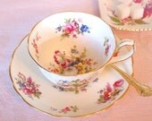 Antique Tea cup Set  Hammersley & Co. Floral English China Teacup and Saucer Set with Pink Roses and Gold Bone China - England Cottage Chic