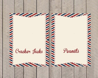Baseball Baby Shower or Birthday Tent Cards- Food Labels- INSTANT DOWNLOAD- PDF File-Party Printables