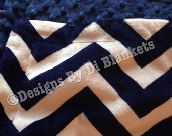 Blue Chevron Blanket, Navy Chevron Bedding, Adult Minky Blanket, Adult couch throw, Minky Bedding Adult Throw Size 50 x 60