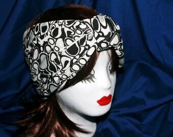 Wide Black and White Stretch Turban Headband