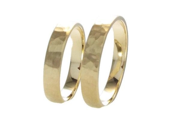 Recycled 14k Gold Wedding Band Ring SetBrushed Hammered