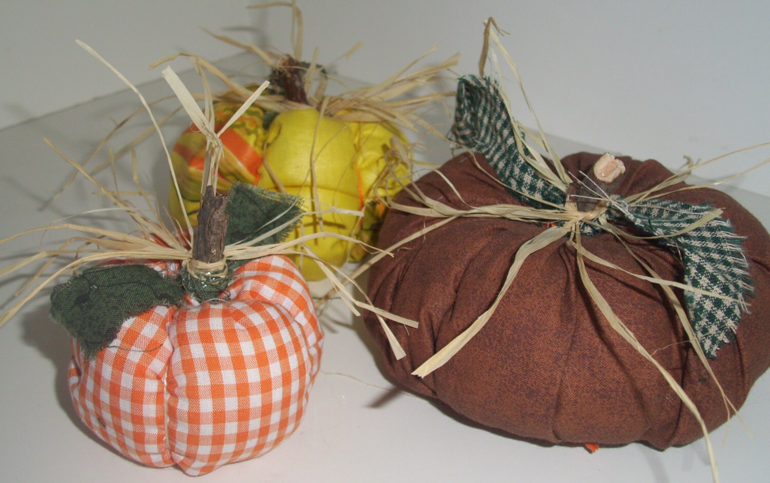 primitve rustic fabric pumpkins handmade fall decor