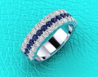 14K white gold 3 row Shared prong Diamond and Sapphire band