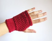 Hand knitted mittens. Handmade Red Wool Hand-Warmers. Fingerless Gloves for women. Winter Women Accessories. Soft Wrist Warmers. Gifts Her