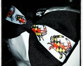Maryland Pride: Black Base with White Center Stripe Featuring Maryland Flag Print Crabs
