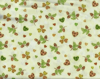 FREE SHIPPING - Hedgehugs cream Acorns and Hearts fabric - orange yellow green brown -  Henry Glass - by the continuous YARD