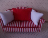 Dolls house living room s sofa red and white sofa with pillows cushions 1 12th scle miniature
