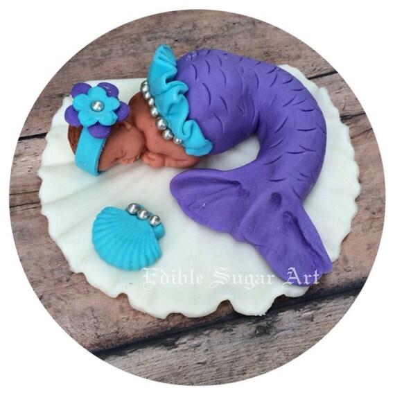 MERMAID BABY SHOWER Cake Topper Fondant By BabyCakesByJennifer