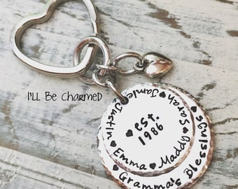 Personalized Hand Stamped Grandma Key Chain - Mom Key Chain - Mother Key Chain - Family Key Chain - Name Key Chain