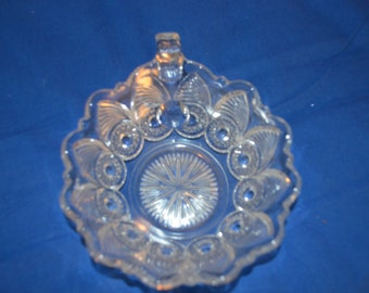 ON SALE   Vintage Pattern Glass Dish in the Bulls Eye and Fan Pattern by US Glass Co.