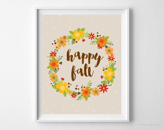 Fall Wall Art happy fall wall art printable floral wreath thanksgiving print