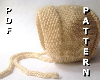 PDF Knitting Pattern Seed Stitch Baby Bonnet