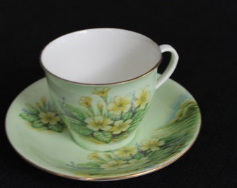 vintage green Aynsley teacup yellow flowers
