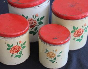 Set 4 vintage metal cream kitchen canisters red lids roses