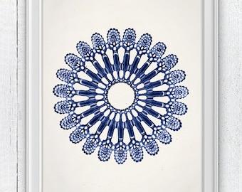 Jellyfish Cistoidea 03 in blue - Wall decor poster ,  sea life print - Marine  sea life illustration A4 print SPOJ05