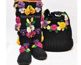 Summer Crochet Boho Boots for the Street + Boho Bag, Crochet Black Shoes, Floral Boho Bag, Boho Boots, Flower applique, Made to Order