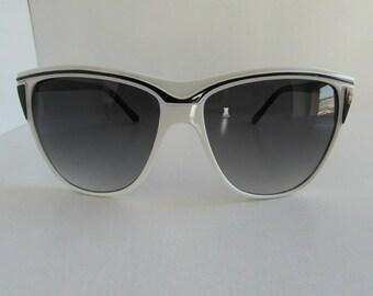 Vintage Black & White D-Frame Sunglasses
