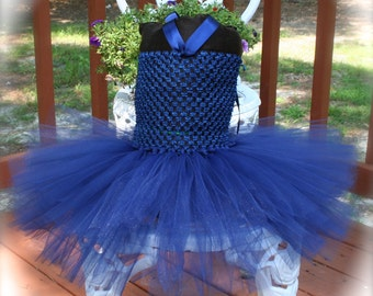 Pageant Boutique infant girls 2pc navy Blue tulle tutu halter dress with matching hairbow size 3 3-6 6m 6-9m 9m 12m + 2t 3t
