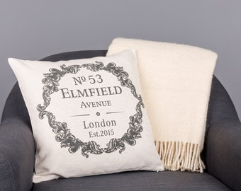 Personalised New Home Vintage Style Pillow Cover