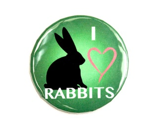"I Love Rabbits 2"" Pin"