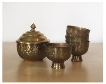 Embossed Brass Cup and Lidded Dish Set