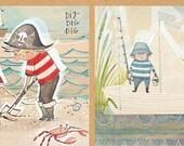 The Adventurers Panel by Cori Dantini for Blend Fabrics - 1 Yard -  Boy Fabric - Pirates Fabric - Quilt Fabric - Boy Nursery Fabric