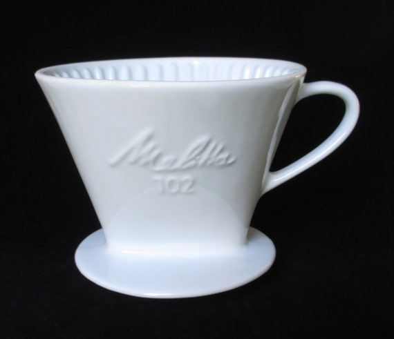 Melitta Pour Over Coffee Maker Porcelain : Melitta 102 ONE HOLE White Ceramic Pour Over Cone drip filter