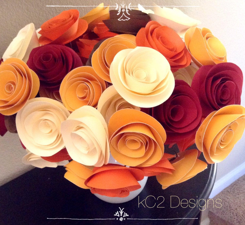Paper flower fall flowers thanksgiving centerpiece wedding